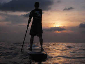 stand up paddle for rent and sunset