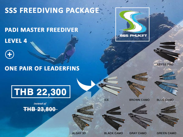 padi master freediver phuket package leaderfins